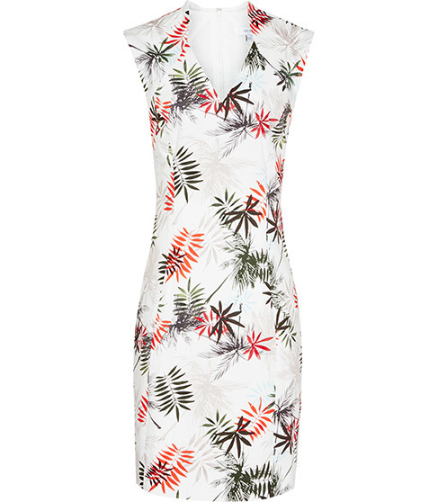 Selena Dress Printed Dress - style: shift; neckline: v-neck; fit: tailored/fitted; sleeve style: sleeveless; predominant colour: white; secondary colour: true red; occasions: evening; length: just above the knee; fibres: cotton - stretch; sleeve length: sleeveless; texture group: structured shiny - satin/tafetta/silk etc.; pattern type: fabric; pattern: florals; multicoloured: multicoloured; season: s/s 2016; wardrobe: event
