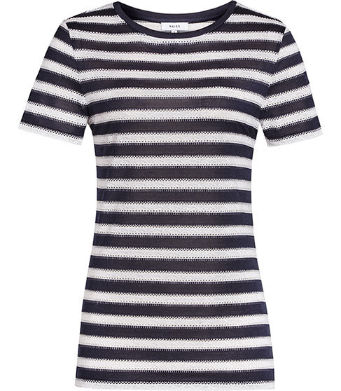 Molly Striped Top - pattern: horizontal stripes; style: t-shirt; secondary colour: white; predominant colour: black; occasions: casual; length: standard; fibres: silk - 100%; fit: body skimming; neckline: crew; sleeve length: short sleeve; sleeve style: standard; pattern type: fabric; texture group: jersey - stretchy/drapey; multicoloured: multicoloured; season: s/s 2016; wardrobe: basic