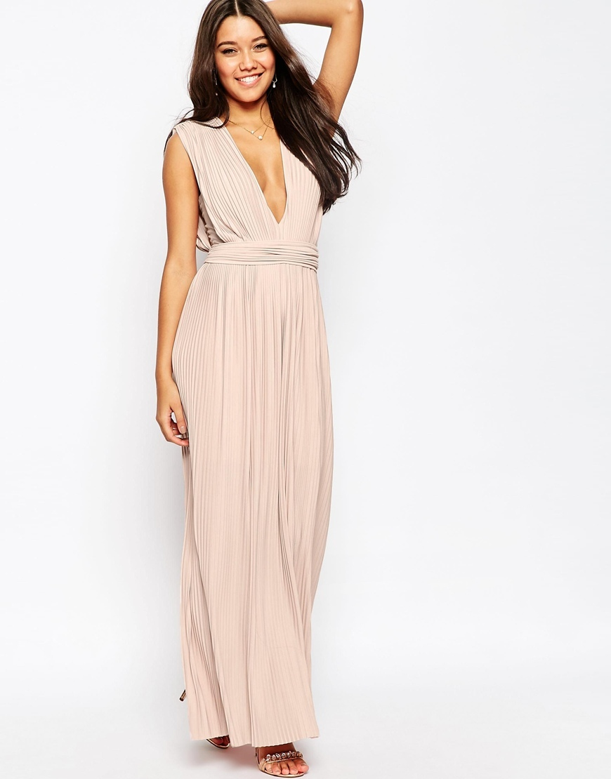 Plunge Pleated Maxi Dress Dusky Pink - neckline: plunge; pattern: plain; sleeve style: sleeveless; style: maxi dress; length: ankle length; waist detail: embellishment at waist/feature waistband; occasions: evening, occasion; fit: body skimming; fibres: polyester/polyamide - stretch; hip detail: soft pleats at hip/draping at hip/flared at hip; sleeve length: sleeveless; pattern type: fabric; texture group: other - light to midweight; predominant colour: dusky pink; season: s/s 2016