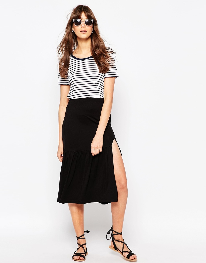Midi Skirt With Tiered Hem And Splice Black - length: below the knee; pattern: plain; fit: body skimming; style: tiered; waist: high rise; predominant colour: black; occasions: casual, creative work; fibres: viscose/rayon - stretch; pattern type: fabric; texture group: jersey - stretchy/drapey; season: s/s 2016; wardrobe: basic