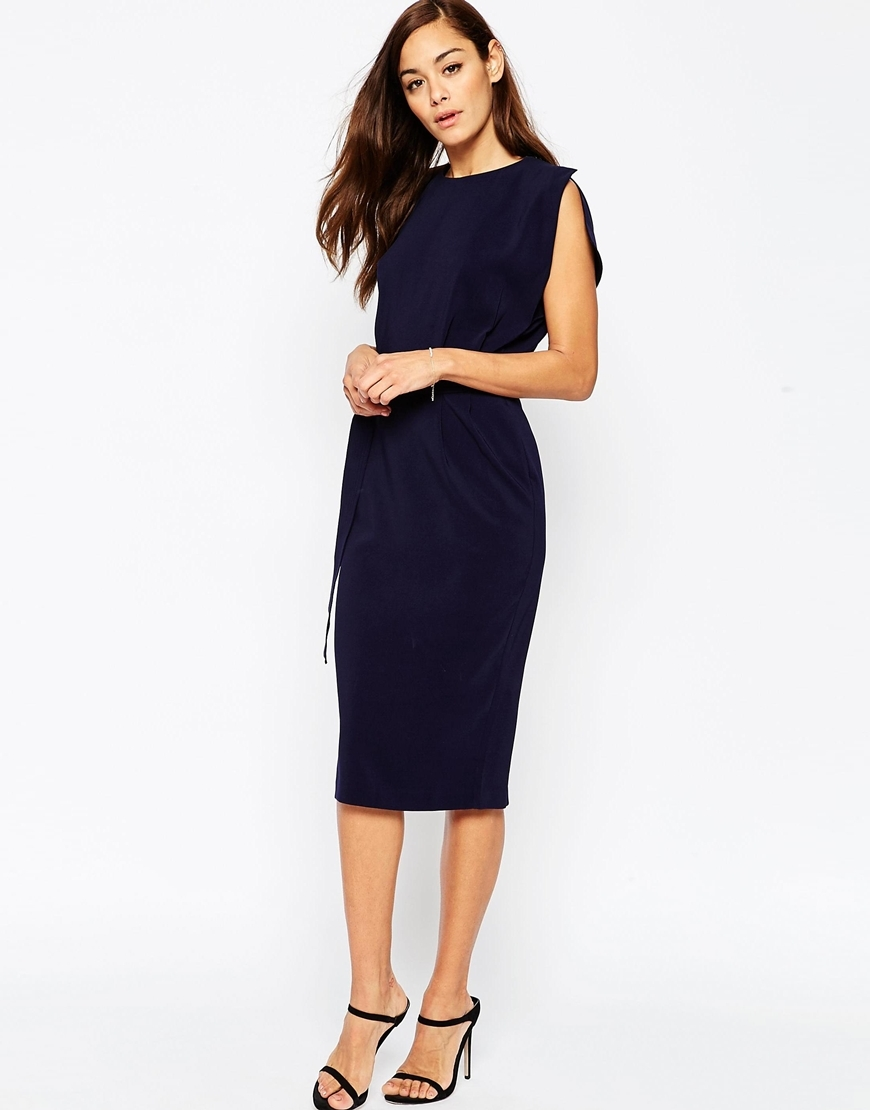 Belted Midi Dress With Split Cap Sleeve And Pencil Skirt Navy - style: shift; length: below the knee; fit: tailored/fitted; pattern: plain; sleeve style: sleeveless; predominant colour: navy; fibres: polyester/polyamide - stretch; occasions: occasion; neckline: crew; sleeve length: sleeveless; pattern type: fabric; texture group: woven light midweight; season: s/s 2016; wardrobe: event