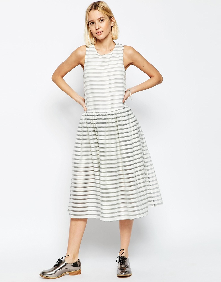 Stripe Organza Trapeze Dress White - length: calf length; pattern: horizontal stripes; sleeve style: sleeveless; predominant colour: white; secondary colour: mid grey; occasions: evening; fit: fitted at waist & bust; style: fit & flare; fibres: polyester/polyamide - 100%; neckline: crew; sleeve length: sleeveless; texture group: sheer fabrics/chiffon/organza etc.; pattern type: fabric; multicoloured: multicoloured; season: s/s 2016; wardrobe: event