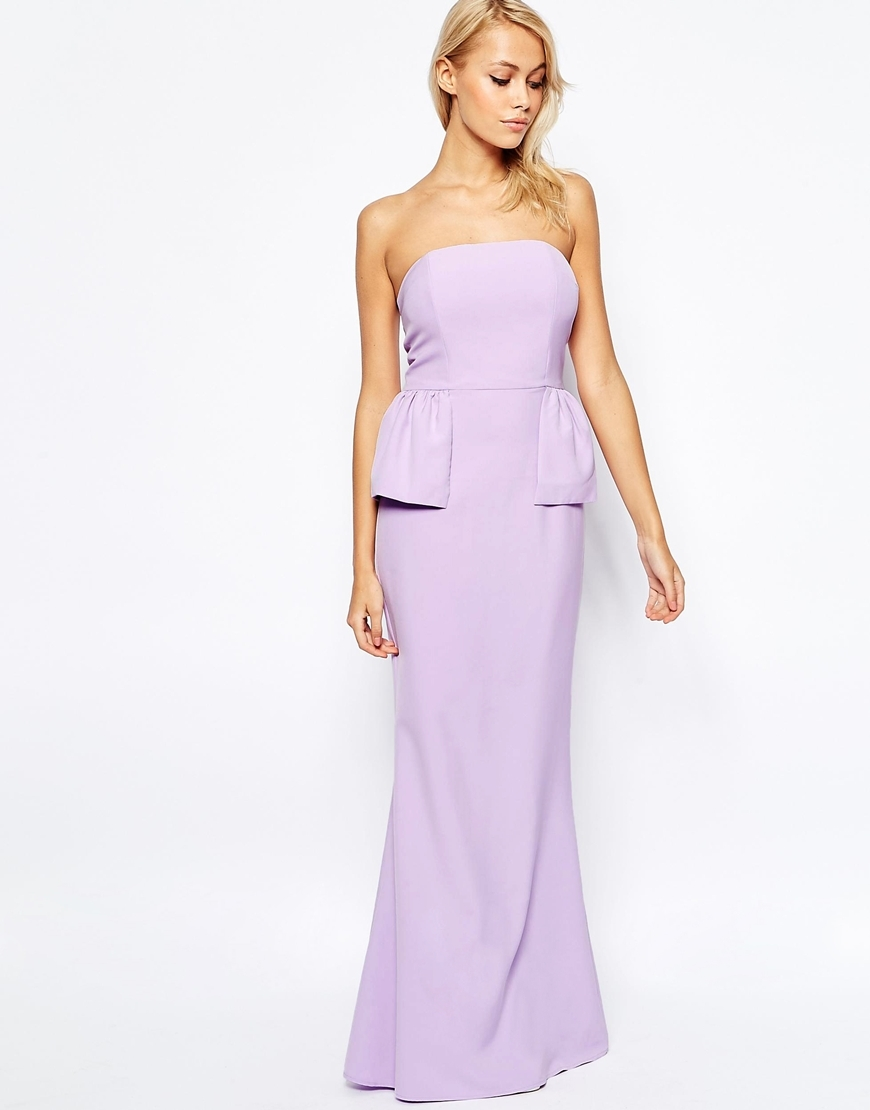 Freya Maxi Dress With Peplum Detail Lilac - neckline: strapless (straight/sweetheart); pattern: plain; style: maxi dress; sleeve style: strapless; waist detail: peplum waist detail; predominant colour: lilac; occasions: evening; length: floor length; fit: body skimming; fibres: polyester/polyamide - 100%; sleeve length: sleeveless; pattern type: fabric; texture group: other - light to midweight; season: s/s 2016; wardrobe: event