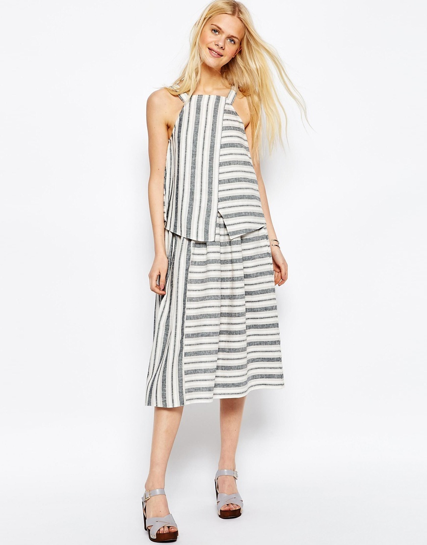 Full Midi Skirt In Linen Stripe Multi - length: below the knee; pattern: striped; style: full/prom skirt; fit: loose/voluminous; waist: high rise; predominant colour: ivory/cream; secondary colour: mid grey; occasions: casual, creative work; fibres: linen - mix; texture group: linen; pattern type: fabric; pattern size: standard (bottom); season: s/s 2016; wardrobe: highlight