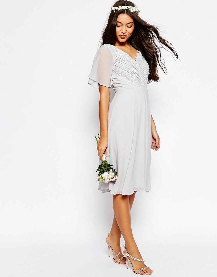 Wedding Lace And Pleat Midi Dress Grey - style: shift; length: below the knee; neckline: v-neck; pattern: plain; predominant colour: light grey; occasions: evening; fit: body skimming; fibres: polyester/polyamide - 100%; sleeve length: short sleeve; sleeve style: standard; texture group: sheer fabrics/chiffon/organza etc.; pattern type: fabric; season: s/s 2016; wardrobe: event