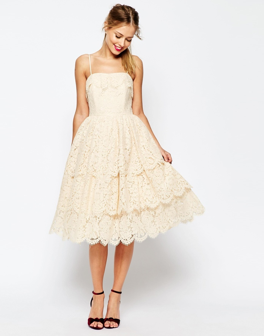 Salon Tiered Lace Midi Prom Dress Cream - length: calf length; sleeve style: spaghetti straps; style: prom dress; predominant colour: ivory/cream; fit: fitted at waist & bust; fibres: polyester/polyamide - 100%; occasions: occasion; sleeve length: sleeveless; texture group: lace; neckline: low square neck; pattern type: fabric; pattern: patterned/print; embellishment: lace; season: s/s 2016; trends: new romantics; wardrobe: event