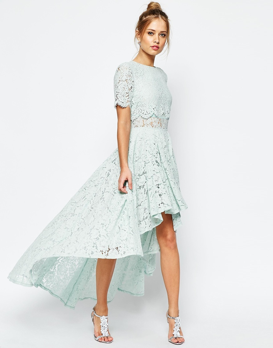 Salon Lace Dip Back Prom Midi Dress Mint - predominant colour: pale blue; length: just above the knee; fit: fitted at waist & bust; style: asymmetric (hem); fibres: cotton - mix; occasions: occasion; neckline: crew; sleeve length: short sleeve; sleeve style: standard; texture group: lace; pattern type: fabric; pattern: patterned/print; season: s/s 2016; wardrobe: event