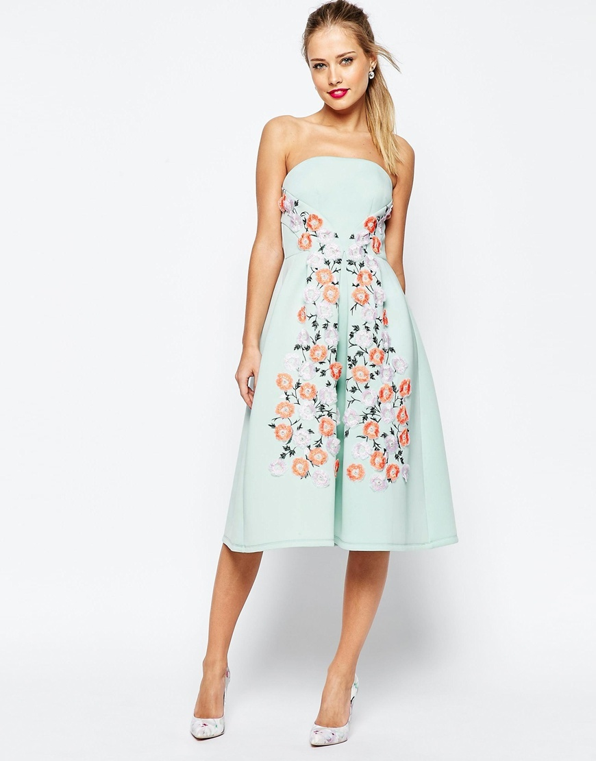 Salon Floral Embroidered Bandeau Midi Prom Dress Green - length: below the knee; neckline: strapless (straight/sweetheart); pattern: plain; sleeve style: strapless; predominant colour: pistachio; fit: fitted at waist & bust; style: fit & flare; fibres: viscose/rayon - 100%; occasions: occasion; sleeve length: sleeveless; pattern type: fabric; texture group: woven light midweight; embellishment: embroidered; multicoloured: multicoloured; season: s/s 2016; wardrobe: event; embellishment location: bust, skirt