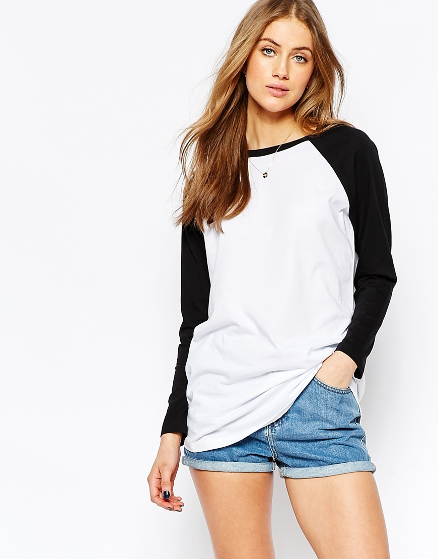 Longline T Shirt With Contrast Sleeve White - neckline: round neck; sleeve style: raglan; length: below the bottom; style: t-shirt; predominant colour: white; secondary colour: black; occasions: casual; fibres: cotton - 100%; fit: body skimming; sleeve length: long sleeve; pattern type: fabric; pattern size: standard; pattern: colourblock; texture group: jersey - stretchy/drapey; season: s/s 2016; wardrobe: highlight