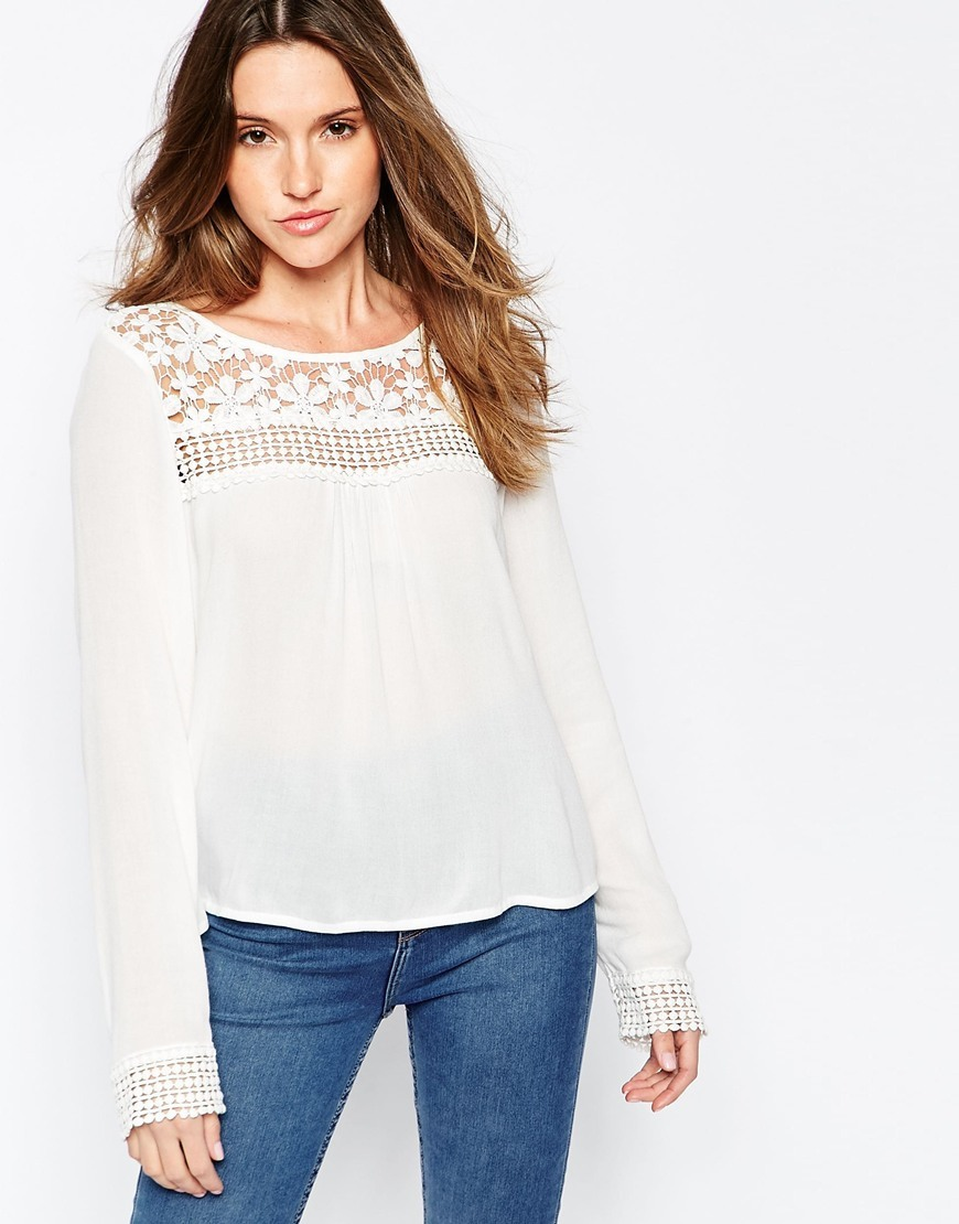 Long Sleeve Blouse With Crochet Yoke Ecru - neckline: round neck; pattern: plain; bust detail: sheer at bust; style: blouse; predominant colour: ivory/cream; occasions: casual; length: standard; fibres: cotton - 100%; fit: body skimming; sleeve length: long sleeve; sleeve style: standard; texture group: knits/crochet; pattern type: fabric; embellishment: lace; season: s/s 2016