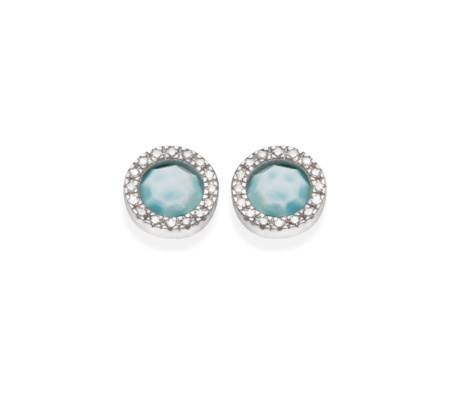 Sterling Silver Naida Circle Stud Earrings Larimar - predominant colour: pale blue; secondary colour: silver; occasions: evening, occasion; style: stud; length: short; size: small/fine; material: chain/metal; fastening: pierced; finish: plain; embellishment: jewels/stone; season: s/s 2016; wardrobe: event