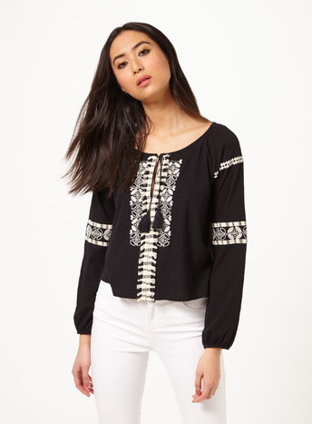 Womens Black Embroidered Gypsy Top, Black - pattern: plain; length: cropped; secondary colour: white; predominant colour: black; occasions: casual; neckline: scoop; fibres: cotton - mix; fit: loose; style: gypsy/peasant; sleeve length: long sleeve; sleeve style: standard; trends: monochrome; pattern type: fabric; texture group: jersey - stretchy/drapey; embellishment: embroidered; season: s/s 2016; wardrobe: highlight