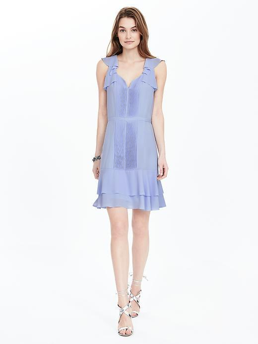 Flutter Sleeve Pintuck Dress Hyacinth Blue - style: shift; fit: tailored/fitted; pattern: plain; sleeve style: sleeveless; neckline: sweetheart; predominant colour: pale blue; length: just above the knee; fibres: polyester/polyamide - 100%; occasions: occasion; sleeve length: sleeveless; texture group: sheer fabrics/chiffon/organza etc.; hip detail: ruffles/tiers/tie detail at hip; pattern type: fabric; season: s/s 2016
