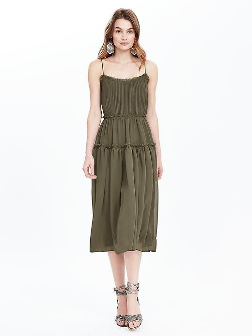 Strappy Midi Dress Tigers Eye Green - length: below the knee; sleeve style: spaghetti straps; fit: fitted at waist; pattern: plain; style: sundress; waist detail: fitted waist; predominant colour: khaki; occasions: casual, holiday; neckline: scoop; fibres: polyester/polyamide - 100%; hip detail: adds bulk at the hips; sleeve length: sleeveless; texture group: sheer fabrics/chiffon/organza etc.; pattern type: fabric; season: s/s 2016; wardrobe: highlight