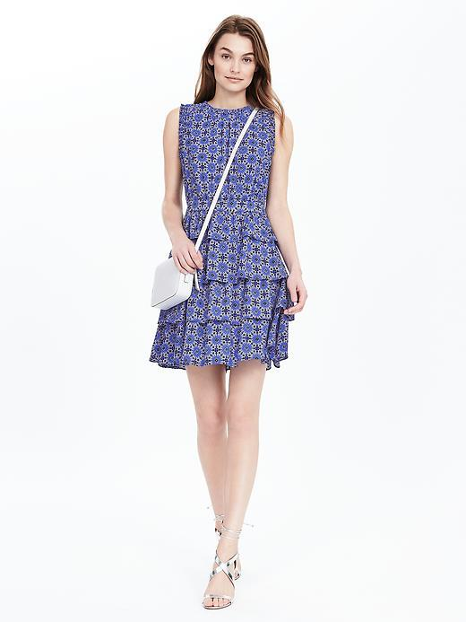 Tile Print Ruffle Dress Summer Lilac - style: shift; length: mid thigh; neckline: round neck; fit: tailored/fitted; sleeve style: sleeveless; predominant colour: royal blue; fibres: polyester/polyamide - 100%; hip detail: adds bulk at the hips; sleeve length: sleeveless; texture group: sheer fabrics/chiffon/organza etc.; pattern type: fabric; pattern size: big & busy; pattern: patterned/print; occasions: creative work; season: s/s 2016; wardrobe: highlight