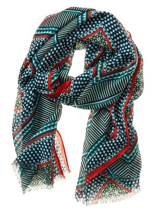Moroccan Tile Scarf Monomay Turquoise - predominant colour: turquoise; occasions: casual; type of pattern: heavy; style: regular; size: standard; material: fabric; pattern: patterned/print; multicoloured: multicoloured; season: s/s 2016; wardrobe: highlight