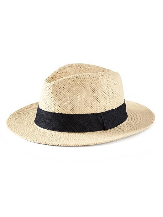 Straw Hat Light Stone - predominant colour: stone; secondary colour: black; occasions: casual, holiday; type of pattern: light; embellishment: ribbon; style: trilby; size: standard; material: macrame/raffia/straw; pattern: colourblock; season: s/s 2016