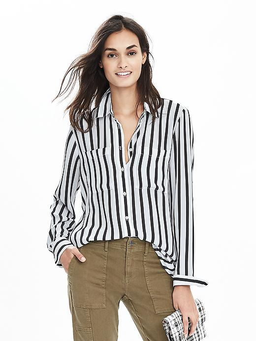 Mixed Stripe Blouse Black And White - neckline: shirt collar/peter pan/zip with opening; pattern: striped; style: blouse; secondary colour: white; predominant colour: black; occasions: work; length: standard; fibres: polyester/polyamide - 100%; fit: loose; sleeve length: long sleeve; sleeve style: standard; pattern type: fabric; texture group: other - light to midweight; pattern size: big & busy (top); season: s/s 2016; wardrobe: highlight
