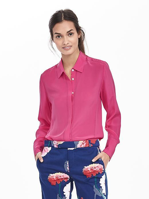 Embroidered Silk Blouse Kismet Pink - neckline: shirt collar/peter pan/zip with opening; pattern: plain; style: blouse; predominant colour: hot pink; occasions: work, creative work; length: standard; fibres: silk - 100%; fit: body skimming; sleeve length: long sleeve; sleeve style: standard; texture group: silky - light; pattern type: fabric; season: s/s 2016; wardrobe: highlight