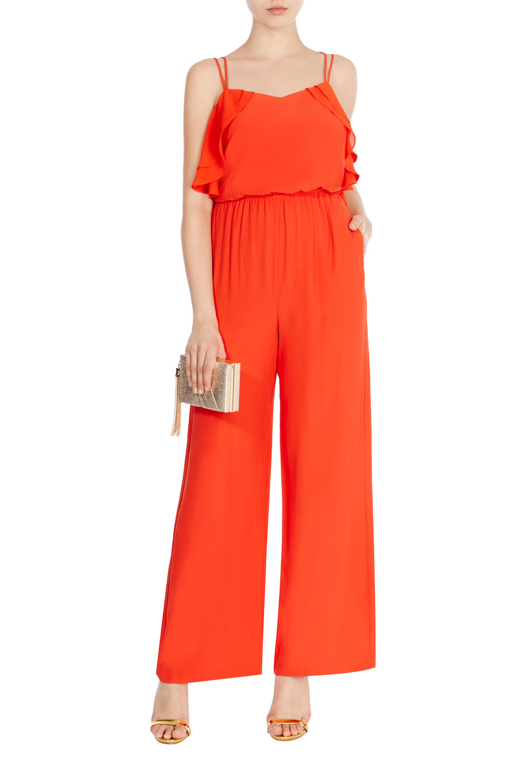 Kora Jumpsuit - length: standard; neckline: v-neck; sleeve style: spaghetti straps; fit: fitted at waist; pattern: plain; predominant colour: bright orange; occasions: evening, occasion; sleeve length: sleeveless; texture group: crepes; style: jumpsuit; pattern type: fabric; fibres: viscose/rayon - mix; season: s/s 2016; wardrobe: event