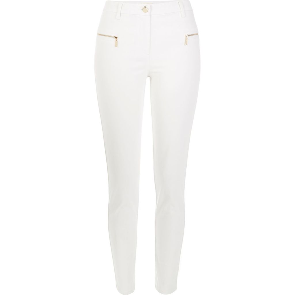 Womens White Twill Zip Skinny Trousers - length: standard; pattern: plain; waist: high rise; predominant colour: white; occasions: casual, creative work; fibres: cotton - stretch; texture group: denim; fit: skinny/tight leg; pattern type: fabric; style: standard; embellishment: zips; season: s/s 2016; wardrobe: highlight