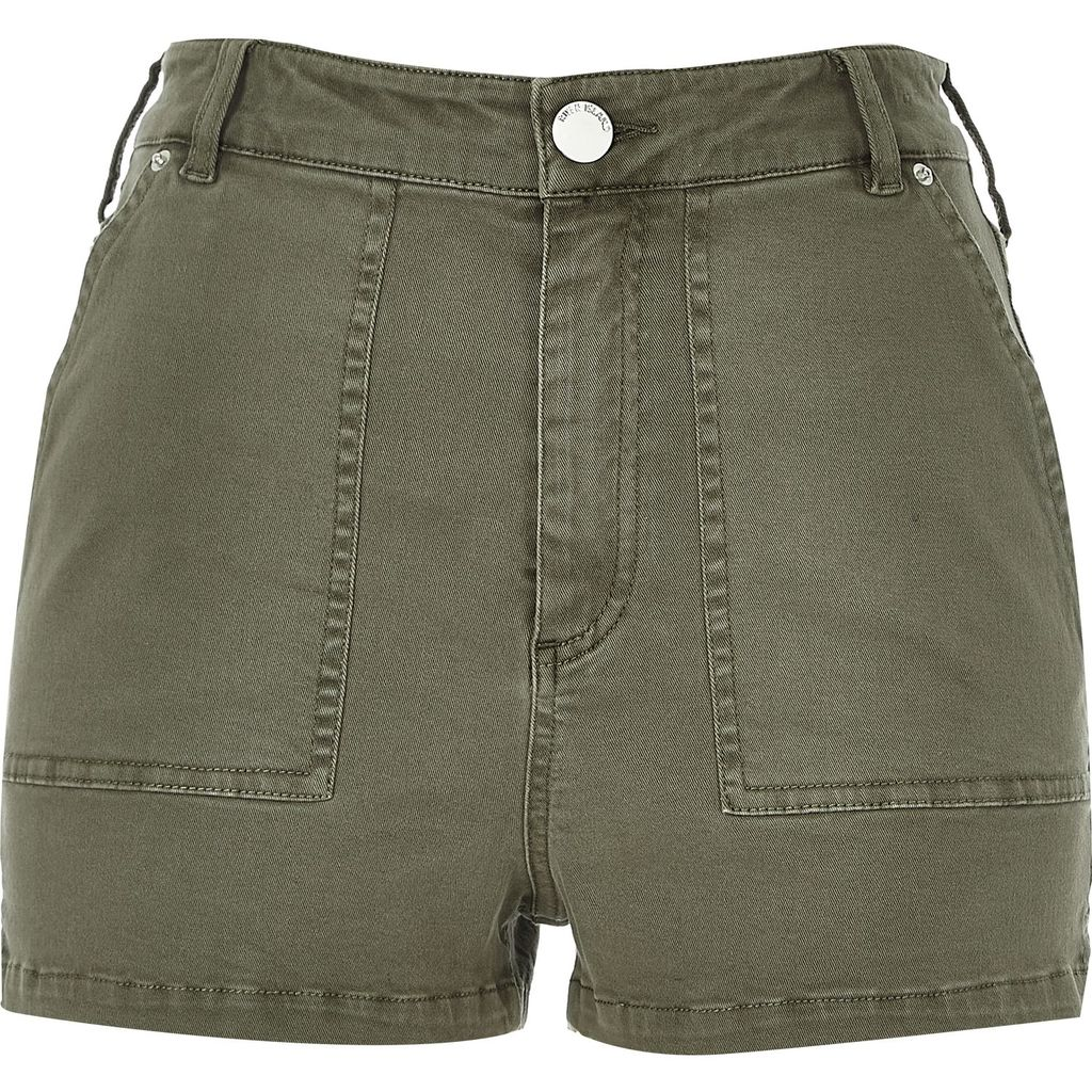 Womens Khaki High Rise Shorts - pattern: plain; pocket detail: pockets at the sides; waist: mid/regular rise; predominant colour: khaki; occasions: casual; fibres: cotton - stretch; texture group: cotton feel fabrics; pattern type: fabric; season: s/s 2016; wardrobe: basic; style: shorts; length: short shorts; fit: slim leg