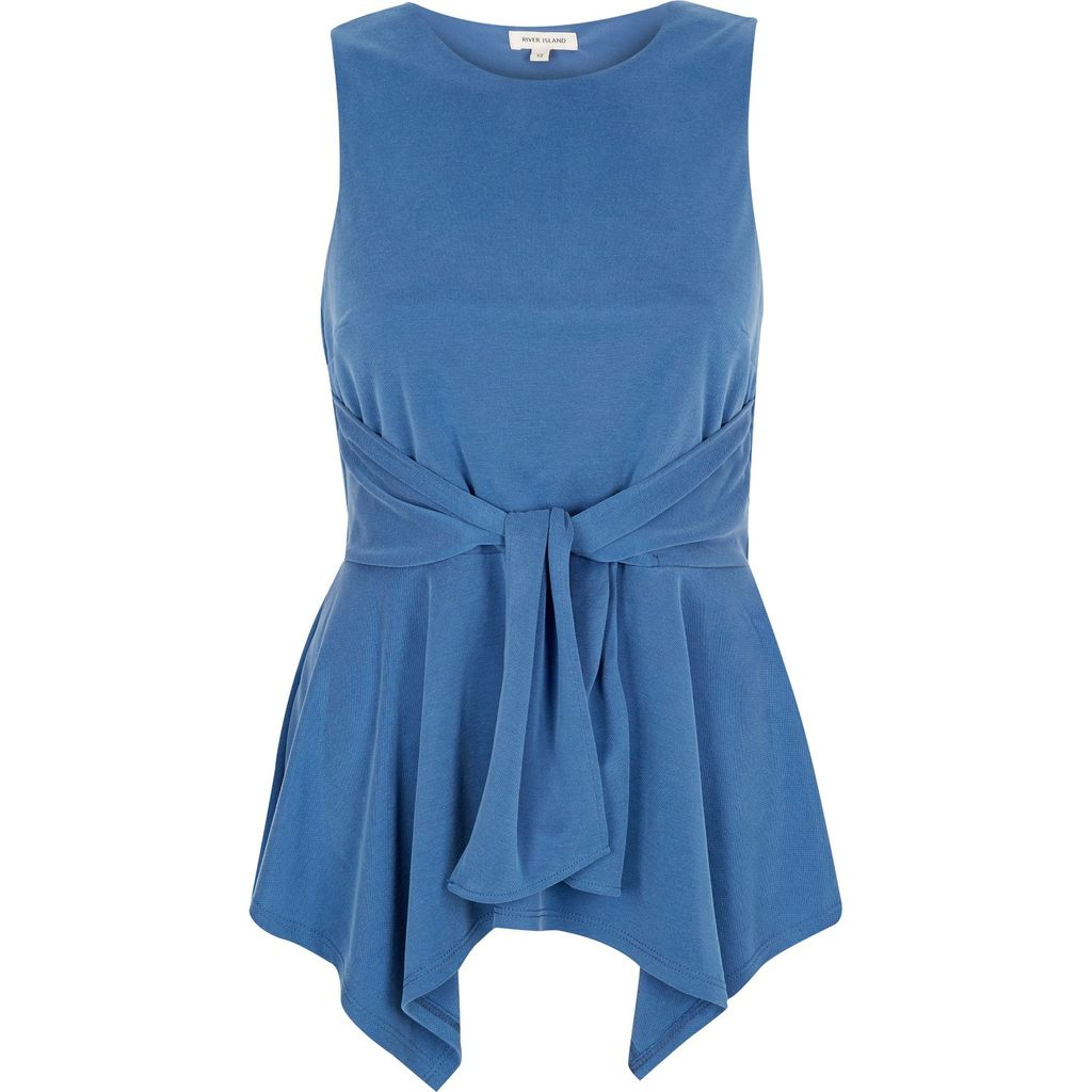 Womens Blue Knot Front Sleeveless Top - pattern: plain; sleeve style: sleeveless; length: below the bottom; waist detail: belted waist/tie at waist/drawstring; predominant colour: denim; occasions: casual; style: top; fibres: viscose/rayon - stretch; fit: body skimming; neckline: crew; sleeve length: sleeveless; pattern type: fabric; texture group: other - light to midweight; season: s/s 2016; wardrobe: highlight