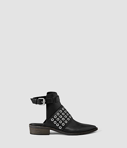 Yannis Shoe - predominant colour: black; occasions: casual, creative work; material: leather; heel height: mid; heel: block; toe: pointed toe; boot length: ankle boot; style: standard; finish: plain; pattern: plain; season: s/s 2016