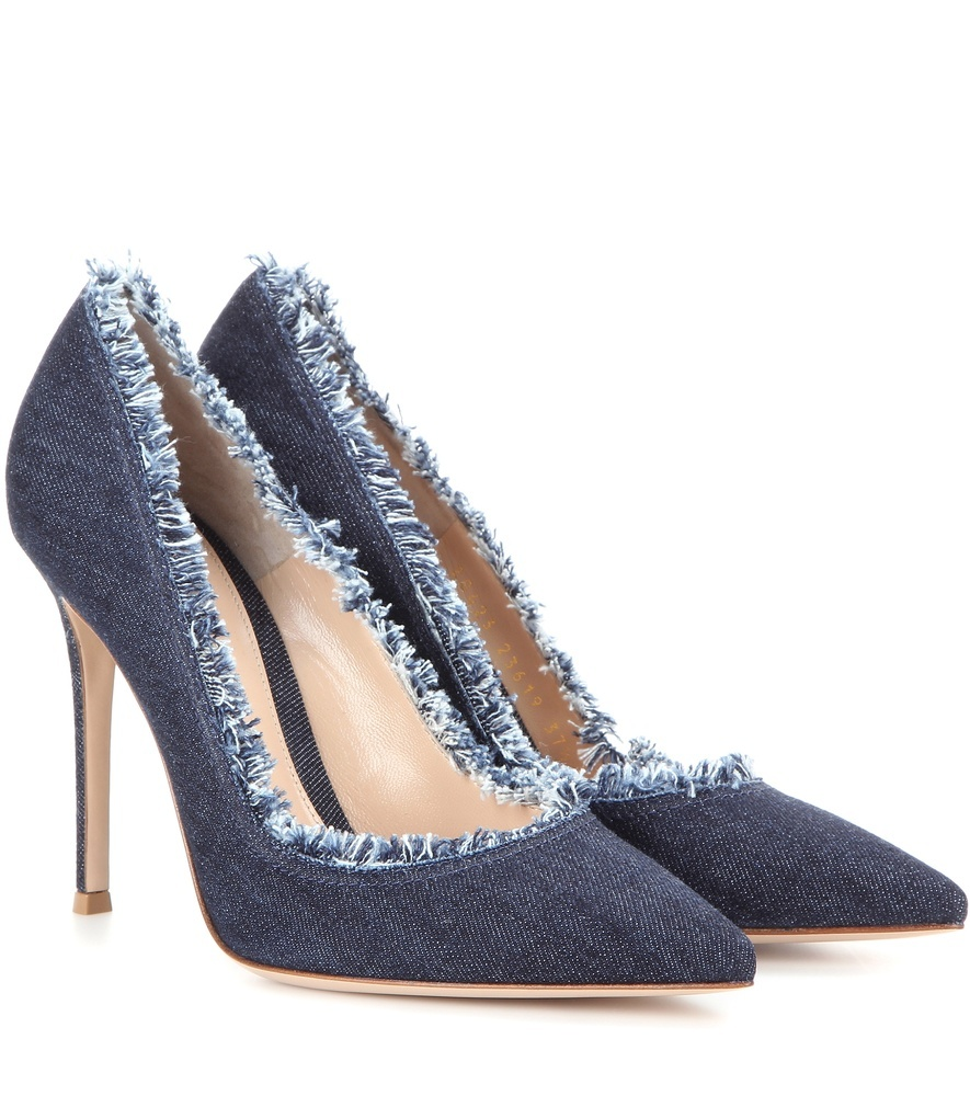 Denim Pumps - predominant colour: denim; occasions: evening, creative work; material: fabric; heel height: high; heel: stiletto; toe: pointed toe; style: courts; finish: plain; pattern: plain; season: s/s 2016