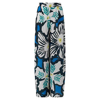 Dara Print Palazzo Trousers, Kingfisher - length: standard; style: palazzo; waist detail: elasticated waist; waist: high rise; secondary colour: white; predominant colour: diva blue; occasions: casual; fibres: silk - 100%; fit: wide leg; pattern type: fabric; pattern: florals; texture group: woven light midweight; pattern size: big & busy (bottom); multicoloured: multicoloured; season: s/s 2016