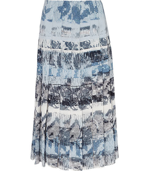 Rockie Printed Midi Skirt - length: calf length; fit: loose/voluminous; waist: high rise; predominant colour: pale blue; secondary colour: denim; occasions: evening; style: a-line; fibres: polyester/polyamide - 100%; pattern type: fabric; pattern: patterned/print; texture group: other - light to midweight; pattern size: standard (bottom); season: s/s 2016
