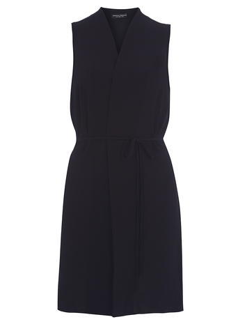 Womens Navy Sleeveless Belted Jacket Navy - pattern: plain; sleeve style: sleeveless; collar: round collar/collarless; predominant colour: navy; occasions: evening, creative work; fit: tailored/fitted; fibres: polyester/polyamide - stretch; style: waistcoat; length: mid thigh; waist detail: fitted waist; sleeve length: sleeveless; collar break: medium; pattern type: fabric; texture group: jersey - stretchy/drapey; season: s/s 2016; wardrobe: highlight
