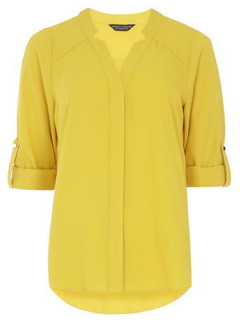 Womens Ocre 'notch Neck' Shirt Orange - neckline: v-neck; pattern: plain; length: below the bottom; style: blouse; predominant colour: yellow; occasions: casual, creative work; fibres: polyester/polyamide - 100%; fit: body skimming; sleeve length: 3/4 length; sleeve style: standard; texture group: sheer fabrics/chiffon/organza etc.; pattern type: fabric; season: s/s 2016; wardrobe: highlight