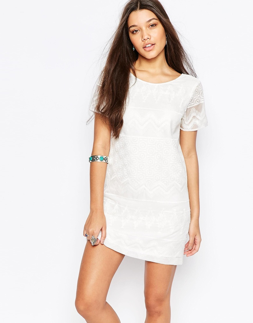 Embroidered Shift Dress With Lace Detail White - style: shift; length: mini; neckline: round neck; pattern: plain; predominant colour: white; occasions: casual; fit: body skimming; fibres: polyester/polyamide - 100%; sleeve length: short sleeve; sleeve style: standard; texture group: lace; pattern type: fabric; embellishment: lace; season: s/s 2016