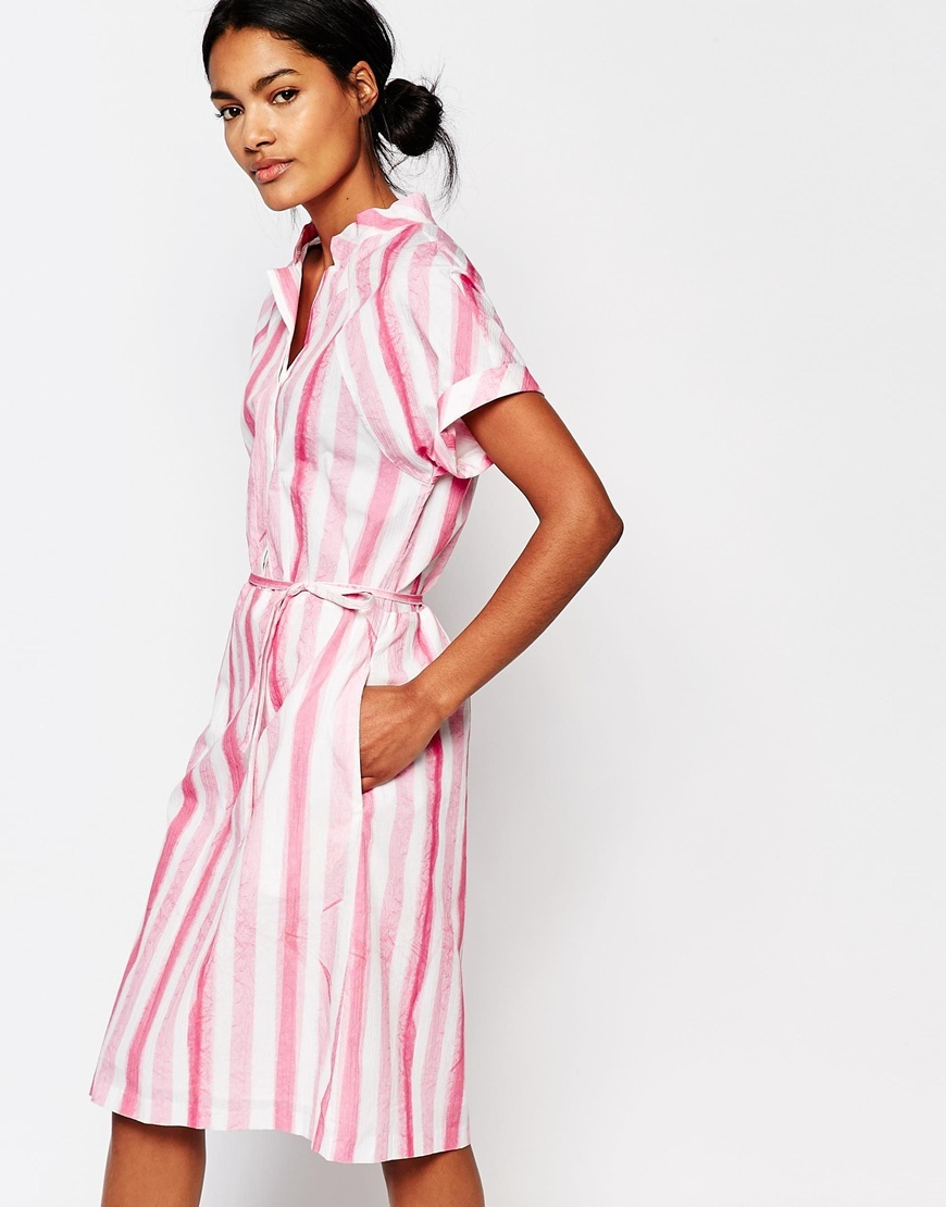 Plastic Bag Dress In Candy Stripe Multi - style: shirt; length: below the knee; neckline: shirt collar/peter pan/zip with opening; pattern: striped; waist detail: belted waist/tie at waist/drawstring; predominant colour: white; secondary colour: hot pink; occasions: casual; fit: body skimming; fibres: cotton - 100%; sleeve length: short sleeve; sleeve style: standard; texture group: cotton feel fabrics; pattern type: fabric; multicoloured: multicoloured; season: s/s 2016; wardrobe: highlight