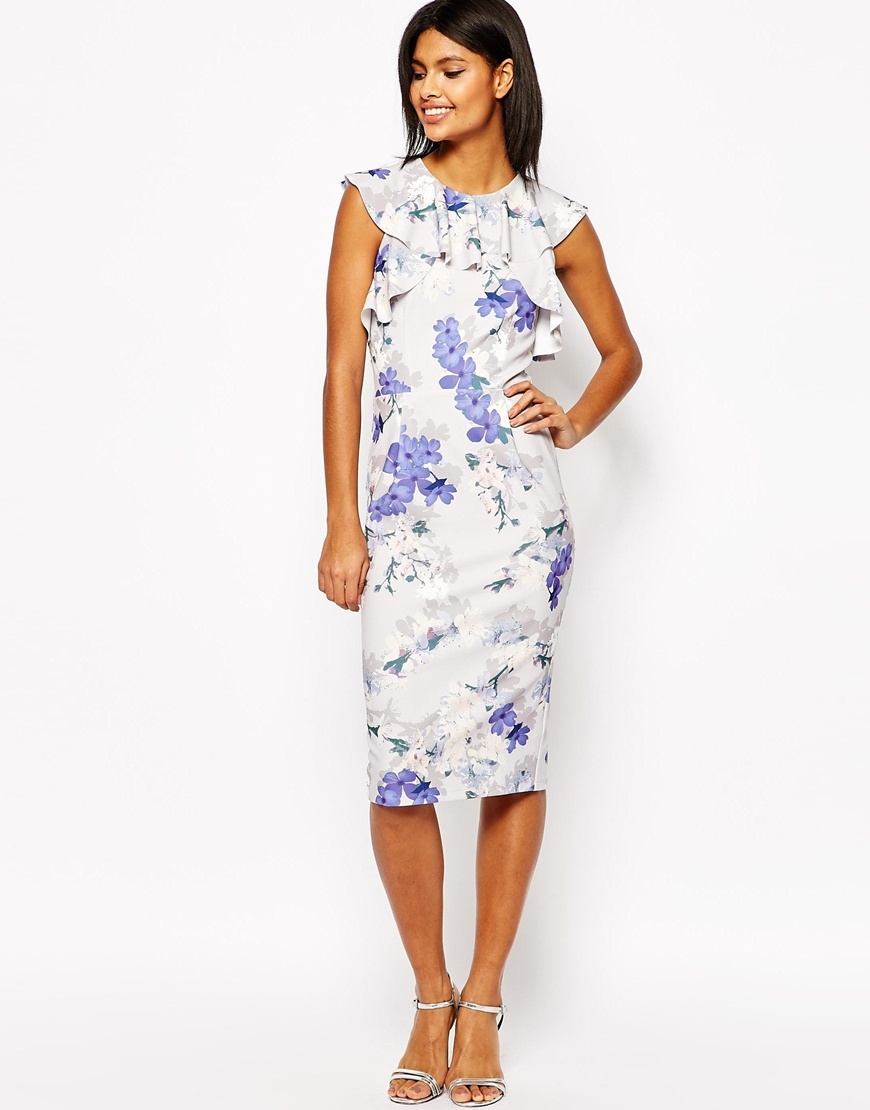Ruffle Pencil Dress In Occasion Floral Print Multi - style: shift; length: below the knee; sleeve style: capped; predominant colour: white; secondary colour: pale blue; fit: body skimming; fibres: polyester/polyamide - stretch; occasions: occasion; neckline: crew; sleeve length: short sleeve; bust detail: bulky details at bust; pattern type: fabric; pattern size: standard; pattern: florals; texture group: woven light midweight; season: s/s 2016; wardrobe: event
