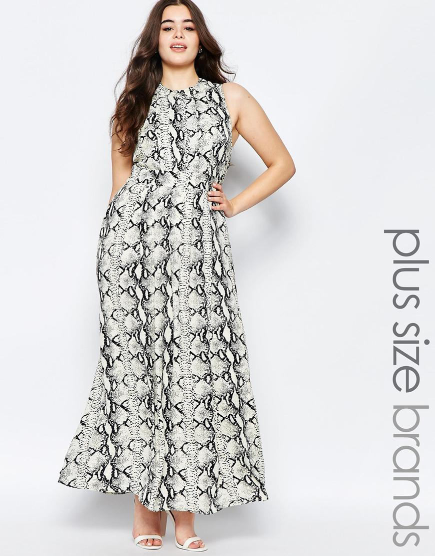Plus Maxi Dress In Animal Print Print - sleeve style: sleeveless; style: maxi dress; length: ankle length; predominant colour: white; secondary colour: mid grey; occasions: evening; fit: body skimming; fibres: polyester/polyamide - 100%; neckline: crew; sleeve length: sleeveless; pattern type: fabric; pattern: patterned/print; texture group: other - light to midweight; multicoloured: multicoloured; season: s/s 2016
