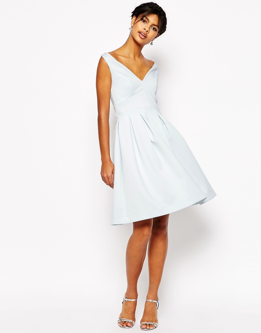 Debutante Midi Dress Ice Blue - neckline: v-neck; pattern: plain; sleeve style: sleeveless; style: full skirt; predominant colour: white; occasions: evening, occasion; length: just above the knee; fit: fitted at waist & bust; fibres: polyester/polyamide - stretch; sleeve length: sleeveless; pattern type: fabric; texture group: other - light to midweight; season: s/s 2016