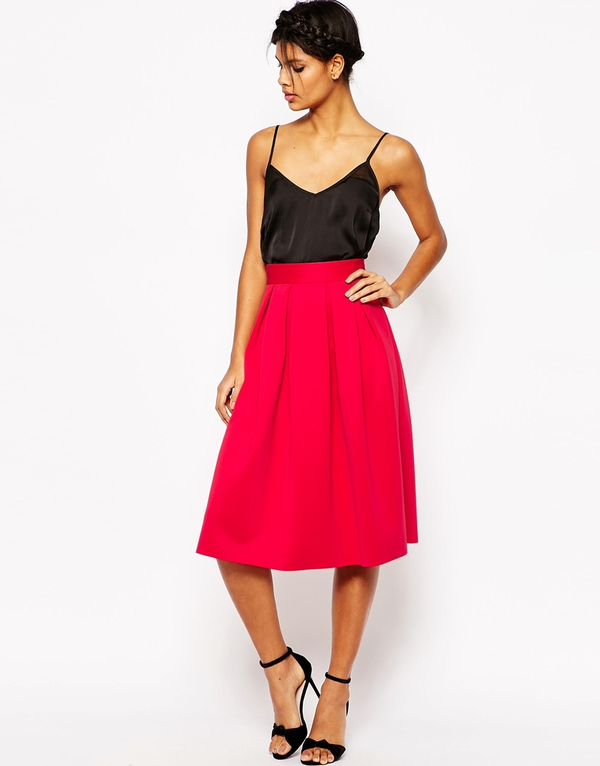 Midi Prom Skirt In Scuba Red - length: below the knee; pattern: plain; style: full/prom skirt; fit: loose/voluminous; waist: high rise; predominant colour: true red; occasions: evening, creative work; fibres: polyester/polyamide - mix; pattern type: fabric; texture group: other - light to midweight; season: s/s 2016; wardrobe: highlight