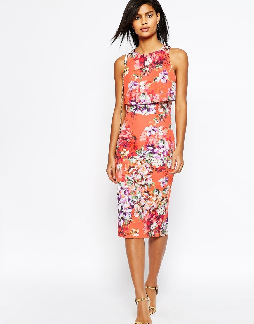 Crop Top Midi Pencil Dress In Orange Floral Orange - style: shift; length: below the knee; fit: tailored/fitted; sleeve style: sleeveless; predominant colour: pink; secondary colour: blush; fibres: cotton - stretch; occasions: occasion; neckline: crew; sleeve length: sleeveless; pattern type: fabric; pattern size: standard; pattern: florals; texture group: woven light midweight; season: s/s 2016; wardrobe: event