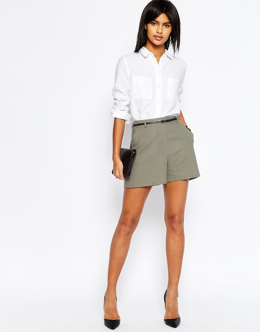 Tailored Linen Short With Belt Sage - pattern: plain; waist: high rise; pocket detail: pockets at the sides; waist detail: belted waist/tie at waist/drawstring; predominant colour: khaki; occasions: casual; fibres: linen - mix; texture group: linen; pattern type: fabric; season: s/s 2016; wardrobe: basic; style: shorts; length: short shorts