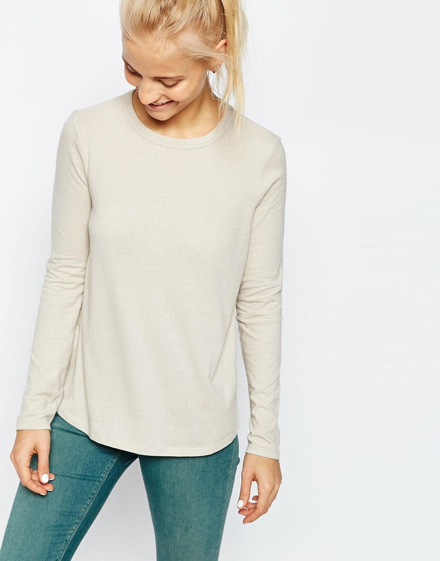 Linen Look Long Sleeve Top Grey Solid - pattern: plain; predominant colour: stone; occasions: casual; length: standard; style: top; fibres: cotton - 100%; fit: body skimming; neckline: crew; sleeve length: long sleeve; sleeve style: standard; pattern type: fabric; texture group: jersey - stretchy/drapey; season: s/s 2016