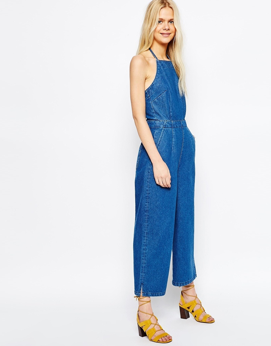 Denim Wide Leg Halterneck Jumpsuit Blue - pattern: plain; sleeve style: sleeveless; predominant colour: navy; occasions: casual; length: ankle length; fit: body skimming; fibres: cotton - 100%; sleeve length: sleeveless; texture group: denim; style: jumpsuit; pattern type: fabric; season: s/s 2016; neckline: high halter neck; wardrobe: highlight