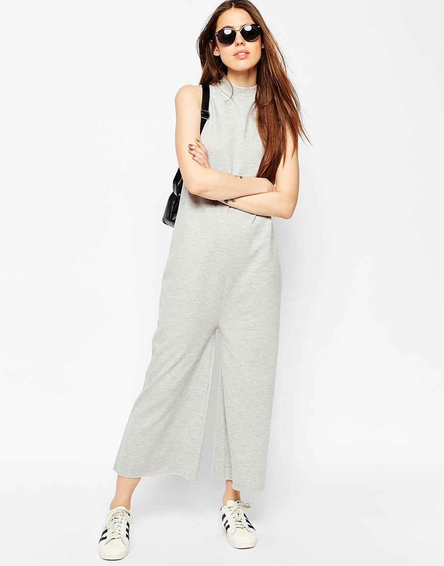 Jersey Jumpsuit With High Neck In Sweat Grey Marl - pattern: plain; sleeve style: sleeveless; neckline: high neck; predominant colour: light grey; occasions: casual; length: ankle length; fit: body skimming; fibres: cotton - mix; sleeve length: sleeveless; style: jumpsuit; pattern type: fabric; texture group: jersey - stretchy/drapey; season: s/s 2016; wardrobe: highlight