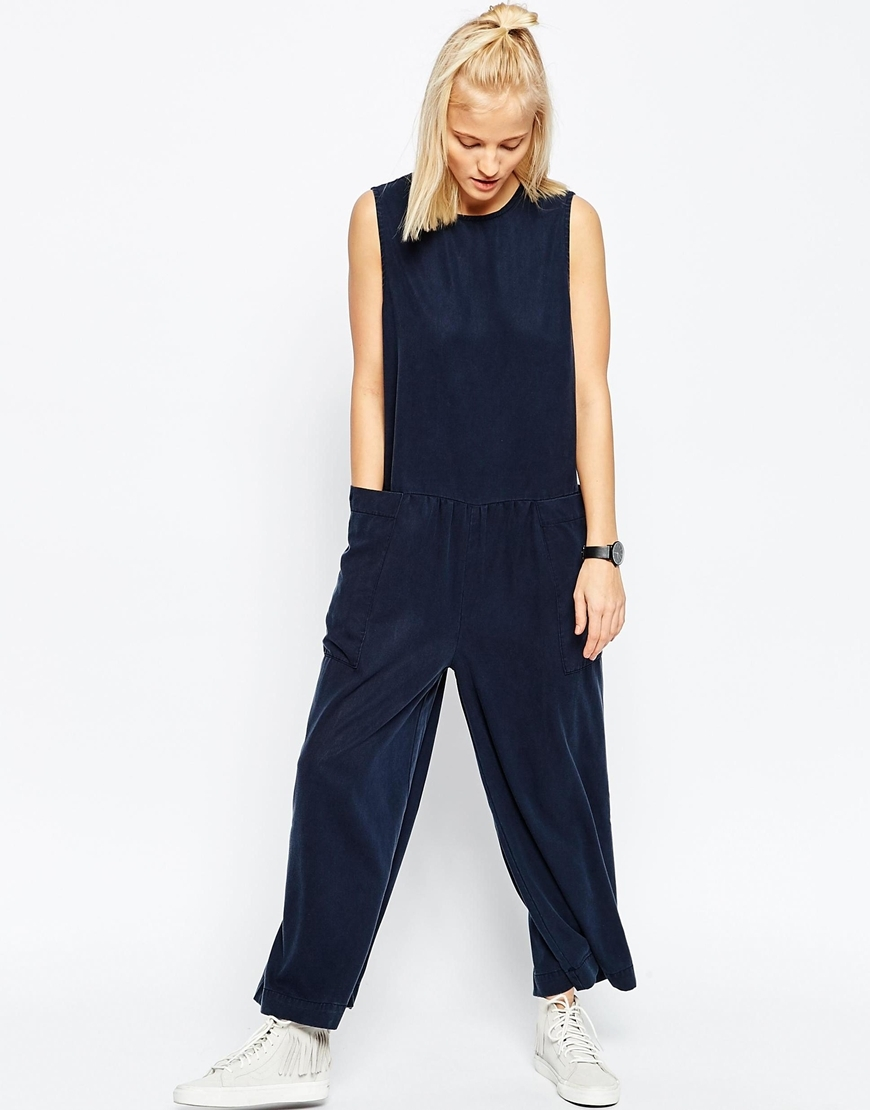 Wide Leg Jumpsuit Blue - length: standard; fit: loose; pattern: plain; sleeve style: sleeveless; predominant colour: navy; occasions: casual, creative work; fibres: viscose/rayon - 100%; neckline: crew; sleeve length: sleeveless; style: jumpsuit; pattern type: fabric; texture group: woven light midweight; season: s/s 2016
