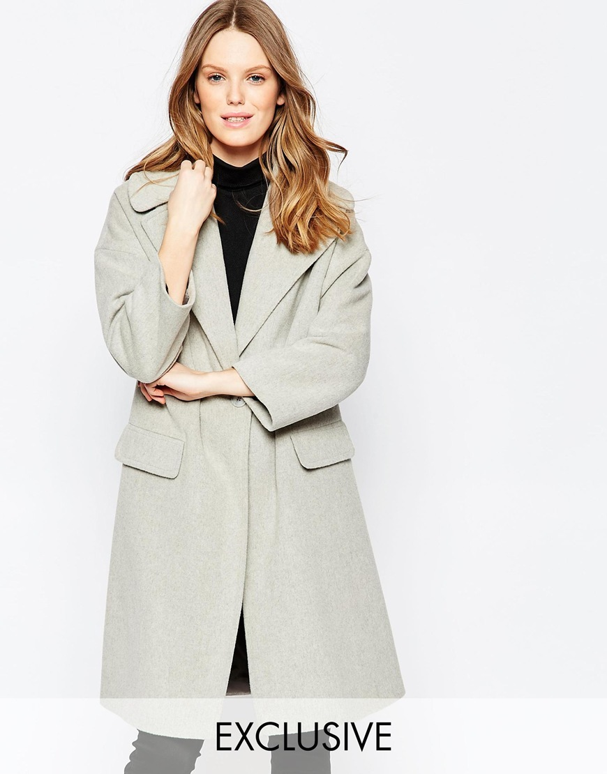 Oversize Collar Coat In Light Grey Light Grey - pattern: plain; style: single breasted; length: on the knee; collar: standard lapel/rever collar; predominant colour: light grey; occasions: casual; fit: tailored/fitted; fibres: wool - mix; sleeve length: long sleeve; sleeve style: standard; collar break: low/open; pattern type: fabric; texture group: woven bulky/heavy; season: s/s 2016; wardrobe: basic