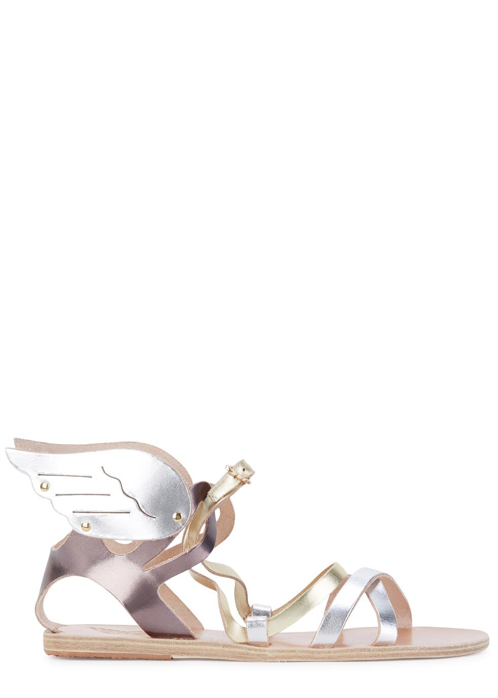 Nephele Metallic Leather Sandals - predominant colour: silver; secondary colour: gold; occasions: casual, holiday; material: leather; heel height: flat; ankle detail: ankle strap; heel: block; toe: open toe/peeptoe; style: gladiators; finish: metallic; pattern: plain; season: s/s 2016; wardrobe: basic