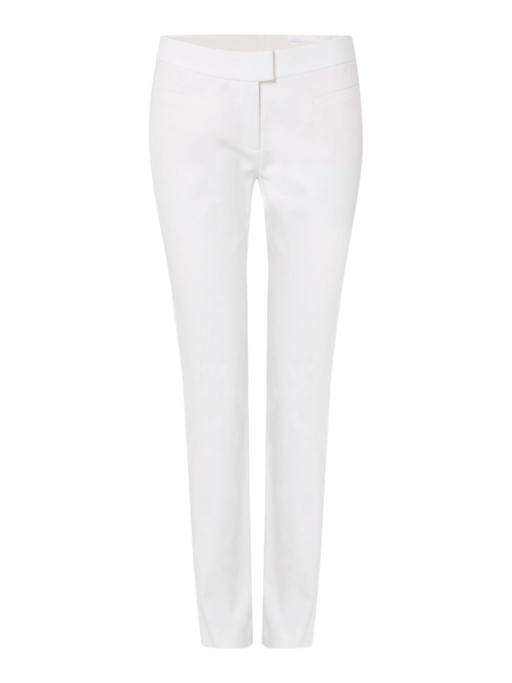 Arania Textured Cotton Slim Trouser, White - length: standard; pattern: plain; waist: mid/regular rise; predominant colour: white; occasions: casual, holiday, creative work; fibres: cotton - stretch; texture group: cotton feel fabrics; fit: slim leg; pattern type: fabric; style: standard; season: s/s 2016; wardrobe: basic