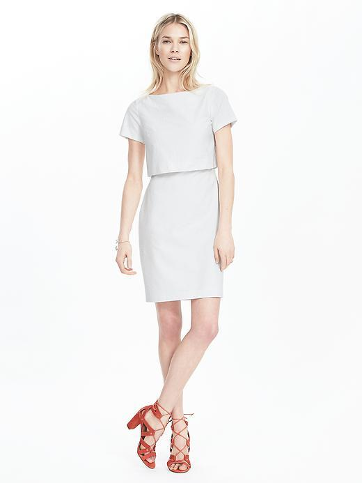 Seersucker Layered Dress White - style: shift; length: mid thigh; neckline: slash/boat neckline; fit: tailored/fitted; pattern: plain; predominant colour: white; fibres: polyester/polyamide - 100%; occasions: occasion; sleeve length: short sleeve; sleeve style: standard; texture group: crepes; pattern type: fabric; season: s/s 2016