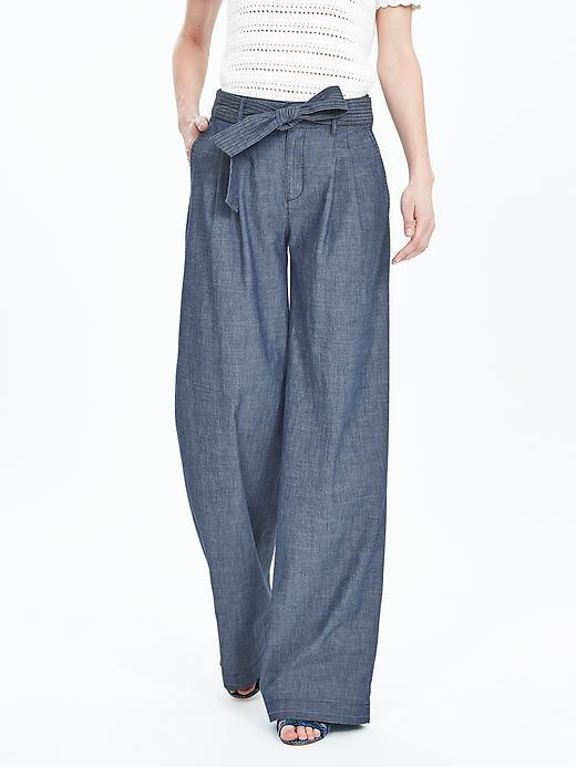 Chambray Belted Wide Leg Pant Chambray - length: standard; pattern: plain; waist: high rise; waist detail: belted waist/tie at waist/drawstring; predominant colour: denim; occasions: casual, creative work; fibres: cotton - 100%; texture group: denim; fit: wide leg; pattern type: fabric; style: standard; season: s/s 2016; wardrobe: highlight